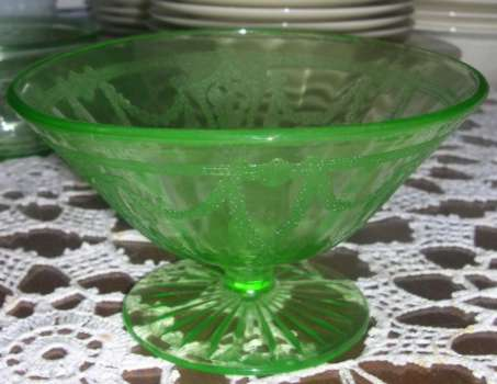 Hocking Green Cameo Depression Glass Mayonnaise Compote